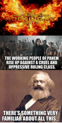 The Hunger Games: THE HUNGER GAMES  PART 2  THE WORKING PEOPLE OF PANEM  RISE UP AGAINST A CRUEL AND  OPPRESSIVE RULING CLASS.  THERESSOMETHING VERY  FAMILIAR ABOUT ALL THIS