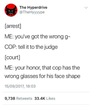 me irl by unsurebellybutton FOLLOW 4 MORE MEMES.: The Hyperdrive  @TheHyyyype  [arrest]  ME: you've got the wrong g-  COP: tell it to the judge  [court]  ME: your honor, that cop has the  wrong glasses for his face shape  15/09/2017, 18:03  9,738 Retweets 33.4K Likes me irl by unsurebellybutton FOLLOW 4 MORE MEMES.