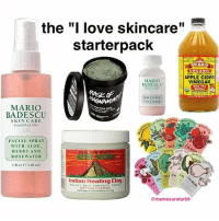 "Apple, Love, and Meme: the ""I love skincare  starterpack  BRAGG  ORGANIC  UNFILTERED  APPLE CIDER  MARIO  VINEGAR  BADESCU  MAANAM  DRVING  LOTION  MARIO  BADESCU  SKIN CARE  Established  FACIAL SPRAY  WITH ALOE.  HEALTH& OEAUTY  HERBS AND  ROSE WATER  Indian Healing Clay  WORLD MOST powERFUL FACIAL  DEEP PORE CLEANSINO!  @meme curator69 my life's a mess but my skin care routines ain't!!! (rp:@memecurator69🔥)"