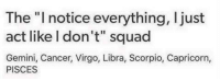"Squade: The ""I notice everything, I just  act like I don't"" squad  Gemini, Cancer, Virgo, Libra, Scorpio, Capricorn,  PISCES"