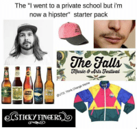 "Hipster: The ""I went to a private school but i'm  now a hipster'' starter pack  The falls  NDIT  Meme  Change Think @UTS: ONE  NALE"
