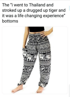 "I think this hits the nail on the head: The ""i went to Thailand and  stroked up a drugged up tiger and  it was a life changing experience""  bottoms I think this hits the nail on the head"