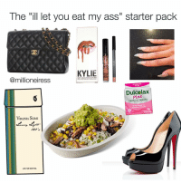 """Made this with @millioneiress YASS GIRL GIT IT: The """"ill let you eat my ass"""" starter pack  KYLIE  on  OVERNIGHT  Dulce lax  Pink  LAXATIVE TABLETS  ADLET  VIRGINIA SLIMS  LOW TAR MENTHOL Made this with @millioneiress YASS GIRL GIT IT"""