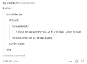 Corals die when stressedomg-humor.tumblr.com: the-imgurian tomhiddleeston  4ndr3aa:  one-hamburger:  dicksp8jr:  fionaaelizabeth:  If corals get stressed they die, so if I was coral I would be dead  what do coral even get stressed about  Current events  | sea  Source: fabulousinfloral  1,349,588 notes Corals die when stressedomg-humor.tumblr.com