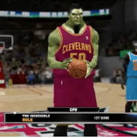 Dunk, Memes, and Superhero: THE INCREDIBLE  HULK  CLEVELAND  CPU  1ST DUNK Superhero dunk contest 😂 Which one was the best?👇