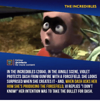 "Facts, Love, and Memes: THE INCREDIBLES  Follow  ONEALA  @cinfacts  for more content  IN THE INCREDIBLES (2004), IN THE JUNGLE SCENE, VIOLET  PROTECTS DASH FROM GUNFIRE WITH A FORCEFIELD. SHE LOOKS  SURPRISED WHEN SHE CREATES IT -AND, WHEN DASH ASKS HER  HOW SHE'S PRODUCING THE FORCEFIELD, VI REPLIES ""IDON'T  KNOW!"" HER INTENTION WAS TO TAKE THE BULLET FOR DASH. Also, I love how in this movie the henchman aren't just mindless goons when he throws the dirt in the water that's proof that syndrome hires wisely! Your thoughts?⠀ -⠀ Follow @cinfacts for more facts"