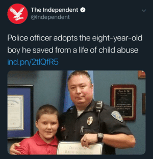 They even look alike ♥️: The Independent  @Independent  Police officer adopts the eight-year-old  boy he saved from a life of child abuse  ind.pn/2tlQfR5  Tor Pet  J% of r  OKLAUOMA STAE  BUREAU INVESTIGAION They even look alike ♥️