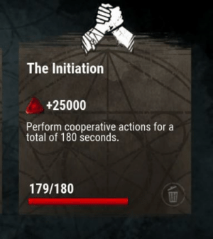 Love, Game, and Total: The Initiation  +25000  Perform cooperative actions for a  total of 180 seconds.  179/180 I love this game.