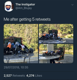 Dank, Life, and Memes: The Instigator  @Am_Blujay  Me after getting 5 retweets  29/07/2018, 10:35  2,527 Retweets 4,274 Likes My life a movie! by KingPZe MORE MEMES