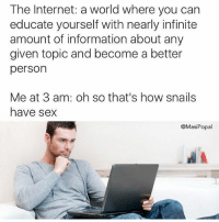 We've all been there (@masipopal): The Internet: a world where you can  educate yourself with nearly infinite  amount of information about any  given topic and become a better  person  Me at 3 am: oh so that's how snails  have sex  @MasiPopal We've all been there (@masipopal)