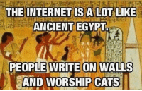 Bad Science Jokes: THE INTERNET IS A LOT LIKE  ANCIENT EGYPTa  PEOPLE WRITE ON WALLS  AND WORSHIP CATS Bad Science Jokes