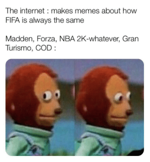You know I'm right by bkhadlin MORE MEMES: The internet makes memes about how  FIFA is always the same  Madden, Forza, NBA 2K-whatever, Gran  Turismo, COD You know I'm right by bkhadlin MORE MEMES