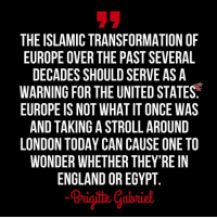 England, Future, and Memes: THE ISLAMIC TRANSFORMATION OF  EUROPE OVER THE PAST SEVERAL  DECADES SHOULD SERVE AS A  WARNING FOR THE UNITED STATES  EUROPE IS NOT WHAT IT ONCE WAS  AND TAKING A STROLL AROUND  LONDON TODAY CAN CAUSE ONE TO  WONDER WHETHER THEY'RE IN  ENGLAND OR EGYPT  Brigith Çabriel THIS IS WHAT PRESIDENT TRUMP SEES IN OUR FUTURE IF THERE ARE NO BORDERS... WE NEED TO VOTE IN AS MANY REPUBLICANS IN NOVEMBER SO WE DON'T LOSE CONGRESS... WE NEED TO STOP THE DEMOCRATS FROM TAKING OUR COUNTRY AGAIN... 8 LONG YEARS OF MISERY FROM OUR PREVIOUS ADMINISTRATION WAS ENOUGH... PEOPLE ARE BEGINNING TO SMILE AGAIN AND THAT'S THE WAY IT SHOULD BE!!!