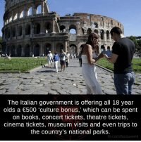 """Memes, Theatre, and 🤖: The Italian government is offering all 18 year  olds a €500 """"culture bonus,' which can be spent  on books, concert tickets, theatre tickets,  cinema tickets, museum visits and even trips to  the country's national  parks  fb.com/facts Weird"""