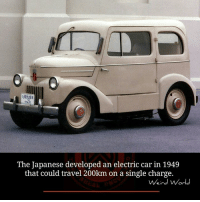 car: The Japanese developed an electric car in 1949  that could travel 200km on a single charge.  Weird World