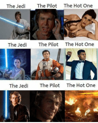 "Posted by Abigail Mareda on our group ""Just Jedi Memes"": The Jed  The Pilot The Hot One  The Jedi  The Pilot  The Hot One  The Jedi  The Pilot  The Hot One Posted by Abigail Mareda on our group ""Just Jedi Memes"""