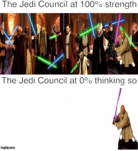 Jedi Council: The Jedi Council at 100% strength  The Jedi Council at 0% thinking so  imgfip.com