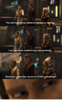 Jedi Council: The Jedi Council has called an emergency meeting  I can see it now. Another long, boring debate  Would you rather they call you in to train younglings?