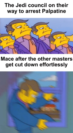 Mace went out the Windu: The Jedi council on their  way to arrest Palpatine  Mace after the other masters  get cut down effortlessly Mace went out the Windu