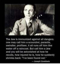 """What do you think about this?: The Jew is immunized against all dangers:  one may call him a scoundrel, parasite  swindler, profiteer, it all runs off him like  water off a raincoat. But call him a Jew  and you will be astonished at how he  recoils, how injured he is, how he suddenly  shrinks back: """"I've been found out.""""  Joseph Goebbels What do you think about this?"""
