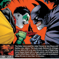 In the end Dick Grayson died due to internal bleeding 😔 Comic: Batman and Robin Legacy _____________________________________________________ - - - - - - - RedHood DeathStroke DickGrayson Aquaman Batman Nightwing Flash Robin Superman MartianManhunter Joker GreenLantern WonderWoman Deadshot GreenArrow JusticeLeague BvS SuicideSquad DawnofJustice BenAffleck Cyborg DCComics DC DCRebirth Rebirth ComicFacts Comcis Facts Like4Like Like: The Joker once used his Joker Venom to turn Bruce and  Damian into Jokers. The toxin made Batman 2x stronger,  was able to lift a car and throw it on top of Nightwing,  made Supes bleed with a single punch, and even tanked  Flash's Infinit Mass Punch. Damian went on a massacre,  COMIC SOURCE  killing 50 men in less than 10 minutes. In the end Dick Grayson died due to internal bleeding 😔 Comic: Batman and Robin Legacy _____________________________________________________ - - - - - - - RedHood DeathStroke DickGrayson Aquaman Batman Nightwing Flash Robin Superman MartianManhunter Joker GreenLantern WonderWoman Deadshot GreenArrow JusticeLeague BvS SuicideSquad DawnofJustice BenAffleck Cyborg DCComics DC DCRebirth Rebirth ComicFacts Comcis Facts Like4Like Like