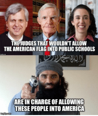 America, Bad, and Memes: THE JUDGES THAT WOULDNT ALLOW  THE AMERICAN FLAGINTO PUBLIC SCHOOLS  ARE INCHARGEOFALLOWING  THESE PEOPLE INTO AMERICA  mg lipcom Team Bad Decision AKA The 9th Circus