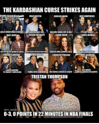 💀💀💀💀: THE KARDASHIAN CURSE STRIKESAGAIN  KRIS HUMPHRIES  MILES AUSTIN  DERRICK WARD  FALLS UNDER NCAA SCANDAL  CAREER FALLSOFF  RUSHING YARDS CUT IN HALF  PPG CUT IN HALF  RASHAD MCCANTS  LAMARODOMU  JAMES HARDEN  MATT KEMP  HAS2ND WORSTSEASON CAREER BLAMES KHLOEFORFAILED NBACAREER CAREER ENDS,ALMOST DIES  ROCKETS FINISH 8TH  BRUCE JENNER  CHANDLER PARSONS  JORDAN CLARKSON  ODELL BECKHAM  HAS WORST  LAKERS BECOME  2ND WORST TEAMINNBA  l TURNS INTO A WOMAN  HAS WORST SEASON OF CAREER  GAME OF CAREERIN PLAYOFFS  TRISTAN THOMPSON  @NFL MEMES  0-3,0POINTSIN 22 MINUTES IN NBA FINALS 💀💀💀💀