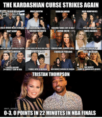who's next? 😂: THE KARDASHIAN CURSE STRIKESAGAIN  MILES AUSTIN  DERRICK WARD  KRIS HUMPHRIES  FALLS UNDER NCAA SCANDAL  CAREER FALLS OFF  RUSHING YARDS CUT IN HALF  PPG CUTIN HALF  RASHAD MCCANTS  LAMAR ODOM  JAMES HARDEN  MATT KEMP  HAS 2ND WORSTSEASON OF CAREER BLAMES KHLOE FOR FAILED NBA CAREER CAREER ENDS, ALMOST DIES  ROCKETS FINISH 8TH  BRUCE JENNER  CHANDLER PARSONS  JORDAN CLARKSON  ODELL BECKHAM  LAKERS BECOME  HAS WORST  2ND WORST TEAMINNBA  TURNS INTO A WOMAN  HAS WORSTSEASON OF CAREER  t GAME OF CAREERIN PLAYOFFS  TRISTAN THOMPSON  ONFLMEMES  0-3,0 POINTS IN 22 MINUTES IN NBA FINALS who's next? 😂