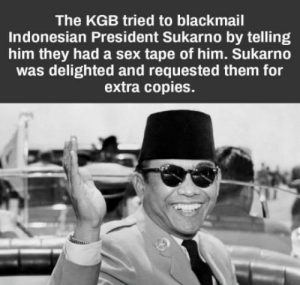 Like a boss: The KGB tried to blackmail  Indonesian President Sukarno by telling  him they had a sex tape of him. Sukarno  was delighted and requested them for  extra copies. Like a boss