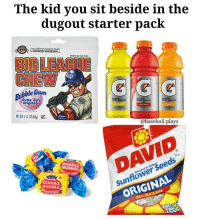 """  Tag the kid who brings the """"snacks""""..😂❤🔥: The kid you sit beside in the  dugout starter pack  UPK.N The Official Bubble Gum  of RIPKEN BASEBALL  G  Bubble Origina  @baseball plays  seeds  ORIGINAL  BUBBLE  DUBBLE  BUBBLE   Tag the kid who brings the """"snacks""""..😂❤🔥"""
