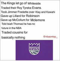 Memes, 🤖, and Lillard: The Kings let go of Whiteside.  Traded their Roy Tyreke Evans.  Took Jimmer Fredette over Klay and Kawahi  Gave up Lillard for Robinson  Gave up McCollum for Mclemore  Told Isiah Thomas he has no  future in the NBA  Traded cousins for  @nbauontop  basically nothing  SACRAMENT D  KINGS Talk about bad decisions lmao 😂😂😂