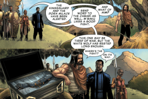 Fucking, God, and Love: THE  KINGSGUARD  AND THE  DORA MILAJE  HAVE BEEN  ALERTED  AND  WHAT OF  HIM?  SEND  WORD TO  THE JABARI AS  WELL. M'BAKU  LIKES A GOOD  FIGHT  THIS ONE MAY BE  TIRED OF WAR, BUT THE  WHITE WOLF HAS RESTED  LONG ENOUGH   WHERE'S THE  FIGHT?  ON ITS  WAY thelittleblackfox: girlbookwrm:   comic-bucky: Marvel's Avengers Endgame Prelude #2 i can't stop laughghfjsing oh my god the sheer– THIS IS SO FUCKING DIFFERENT FROM THE MOVIE??? DON'T GET ME WRONG I LOVE COOL GUY COMIC BUCKY AND HIS 8000 BICEP MUSCLES BUT WHERE IS MY SAD HOBO SON???? the auDACity of this Hot Bucky Propaganda Steve drew this.   Reblogging with the tags from @girlbookwrm because I can't stop laughing