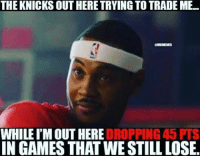 Nba, Clutch, and Trading: THE KNICKS OUT HERETRYING TO TRADE ME.  WHILE IMOUT HERE  DROPPING 45 PTS  IN GAMES THAT WESTILL LOSE. 🏀And hit two clutch shots to force the game to extra time. Appreciate what he's still doing despite all the rumors 💯🔥DOUBLE TAP & TAG a friend.🏀 nba nba2k17 nbaplayoffs nbamemes ➡Everyone ADD us on Snapchat 👻 - ballershype ➡TURN ON POST NOTIFICATIONS ➡Follow my other account @ballershype for NBA news, rumours, videos! ➡LIKE us on Facebook (Link in bio!)