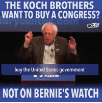 Bernie Sanders, Memes, and White House: THE KOCH BROTHERS  WANT TO BUYA CONGRESS?  act  buy the United States government  NOT ON BERNIE SWATCH There's a lot more on the ballot this year than just the White House — and Bernie Sanders is here to make sure the Koch brothers don't buy it out from under us.