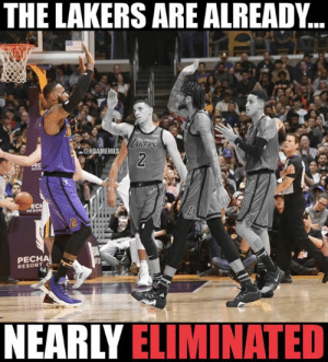 Los Angeles Lakers, LeBron James, and Nba: THE LAKERS ARE ALREADY..  @NBAMEMES  EC  PECH  RESORT  NEARLY ELIMINATED LeBron James was the only Laker star left on the court at the end of the Lakers-Clippers game. 🤯