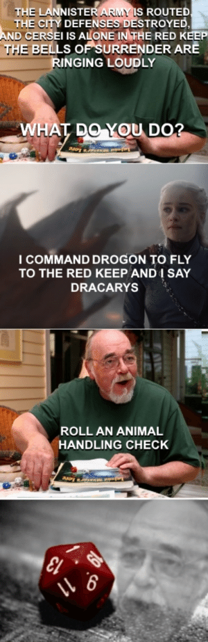 Being Alone, And1, and Army: THE LAN  ISTER ARMY IS  ROUTED  E CITY DEFENSES DESTROYED  TH  AND CERSEI IS ALONE IN THE RED KEEP  THE BELLS OF SURRENDER ARE  RINGING LOUDLY  HA  OU DO  I COMMAND DROGON TO FLY  TO THE RED KEEP AND1 SAY  DRACARYS  ROLL AN ANIMAL  HANDLING CHECK