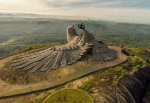 The largest bird sculpture on earth, located in Kerala, India, doing the Neymar challenge.: The largest bird sculpture on earth, located in Kerala, India, doing the Neymar challenge.