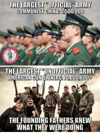"Memes, China, and Army: THE LARGEST ""OFFICIAL"" ARMY  COMMUNIST CHINA: 2,500,000  THE LARGEST ""UNOFFICIAL ARMY  AMERICANGUNOWNERS 10000008  THE FOUNDING FATHERS KNEW  WHAT THEY WEREDOİNG"