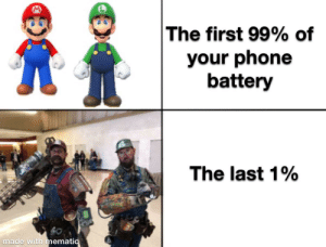The last 1% lasts like 20 min by Dino_Biscuits MORE MEMES: The last 1% lasts like 20 min by Dino_Biscuits MORE MEMES