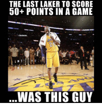 "Basketball, Nba, and Sports: THE LAST LAKER TO SCORE  50+ POINTS IN A GAME  作.  ONBAMEMES  WAS THIS GUY @kasekingz is droppin 🔥🔥 use code ""nbamemes"" for 25% off today only 🙌 @kasekingz"