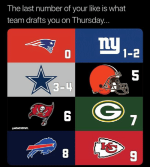 Nfl, Team, and You: The last number of your like is what  team drafts you on Thursday...  1-2  5  3-4  6  gMEMESOFNFL  8  9 Are you making the Playoffs????
