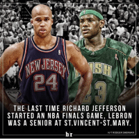 👴🏾: THE LAST TIME RICHARD JEFFERSON  STARTED AN NBA FINALS GAME, LEBRON  WAS A SENIOR AT ST VINCENT-ST. MARY.  H/T RODGER SHERMAN  br 👴🏾