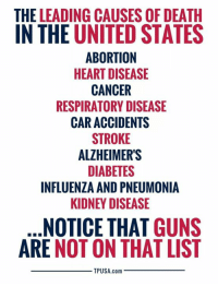 Guns, Memes, and Abortion: THE LEADING CAUSES OF DEATH  IN THE UNITED STATES  ABORTION  HEART DISEASE  CANCER  RESPIRATORY DISEASE  CAR ACCIDENTS  STROKE  ALZHEIMERS  DIABETES  INFLUENZA AND PNEUMONIA  KIDNEY DISEASE  NOTICE THAT GUNS  ARE NOT ON THAT LIST