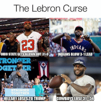 This is hilarious!💀😂😂: The Lebron Curse  VNDIAN  OHIO STATE GETSBLOWNOUT 31-O  INDIANS BLOW 3-1LEAD  KRON  STRONG  TOGETHER  @FUNNIEST NFLMEMES  HILLARY LOSESTO TRUMP COWBOYS LOSE 31534 This is hilarious!💀😂😂