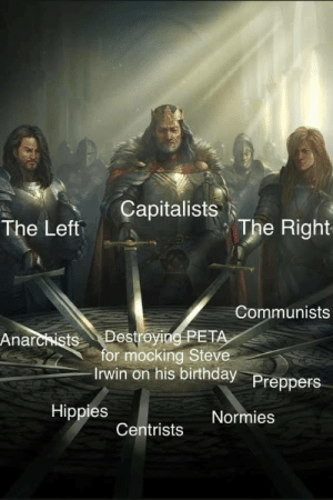 The one issue we all agree on.: The Left Capitalists  The Right  Communists  Anarcists Destroying PET  for mocking Steve  rwin on his birthday  Preppers  Hippies  Normies  Centrists The one issue we all agree on.
