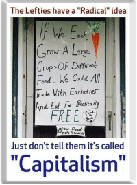 """(GC): The Lefties have a """"Radical"""" idea  ach  Crour A Large  Crop-OF Different  Food e Covld All  Trade Vith Eachothe-  And Eat For Racicalli  FREE  is  cow food  not Lawns  Just don't tell them it's called  """"Capitalism"""" (GC)"""