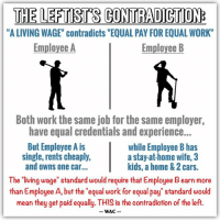 """Cars, Dank, and Family: THE LEFTSTS CONTRADICTION:  """"A LIVING WAGE"""" contradicts """"EQUAL PAY FOR EQUALWORK  Employee A  Employee B  Both work the same job for the same employer,  have equal credentials and experience...  But Employee A is  while Employee B has  single, rents cheaply,  a stayat home wife, 3  and owns one car...  kids, a home & 2 cars.  The """"living wage"""" standard would require that Employee Bearn more  than Employee A, but the """"equal work for equal pay"""" standard would  mean they get paid equally. THIS is the contradiction of the left.  WAC Per Webster dictionary, the definition of a """"Living Wage"""" is """"a wage sufficient to provide the necessities and comforts essential to an acceptable standard of living."""" [a]  But the proposed """"Equal Pay Act,"""" requires that people in the same workplace """"be given equal pay for equal work."""" [b]  These two standards, while simultaneously being adopted by leftists, contradict one another quite easily. After all, all one needs to warrant a higher living wage is a larger household budget, which can easily arise if one individual chooses to have a large family and a stay-at-home spouse. Does that mean said individual should NOT be paid equally to his/her counterparts?  [a] http://www.merriam-webster.com/dictionary/living%20wage  [b] https://www.eeoc.gov/laws/types/equalcompensation.cfm"""