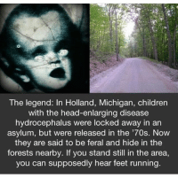 Children, Head, and Memes: The legend: In Holland, Michigan, children  with the head-enlarging disease  hydrocephalus were locked away in an  asylum, but were released in the '70s. Now  they are said to be feral and hide in the  forests nearby. If you stand still in the area,  you can supposedly hear feet running. I'm going to make a YouTube channel this weekend! How many people will subscribe??
