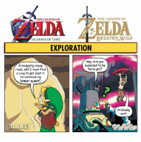 Memes, 🤖, and Legend: THE LEGEND OF  THE LEGEND OF  NDA  OCARINA OF TIME  THE  EXPLORATION  Hey, are you  supposed to be  A modestly-sized  here yet?  rock, eh? I must find  a way to get past it  to continue my  linear quest!  probably  not!  ORKLY Swipe to see all the panels!