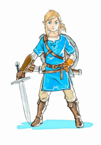The Legend of Zelda: Breath of the Wild dev team has shared these two pieces of concept art for Link's new blue ensemble.: The Legend of Zelda: Breath of the Wild dev team has shared these two pieces of concept art for Link's new blue ensemble.